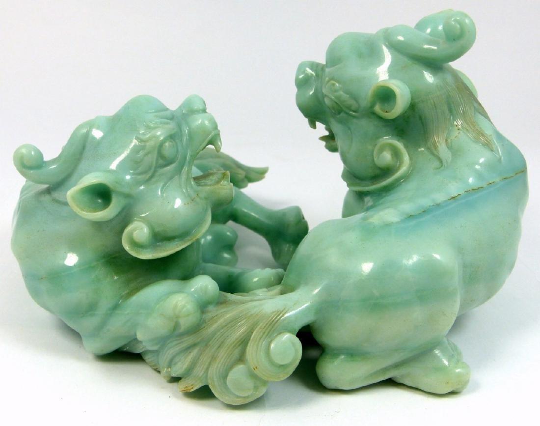 CHINESE CELADON JADEITE FOO LION CARVING - 7