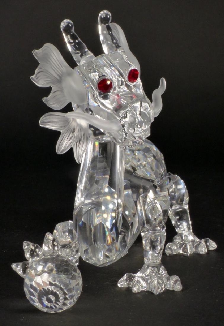 SWAROVSKI CRYSTAL DRAGON FIGURE w STAND & BOXES - 3