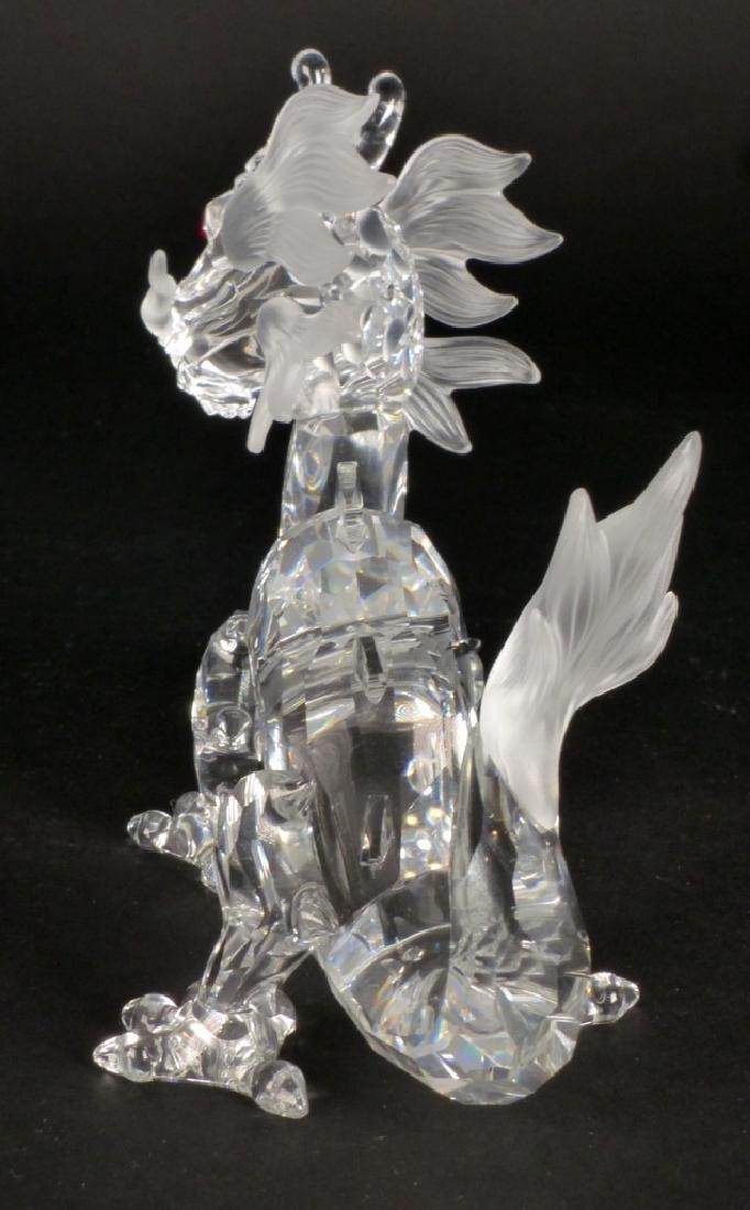 SWAROVSKI CRYSTAL DRAGON FIGURE w STAND & BOXES - 5