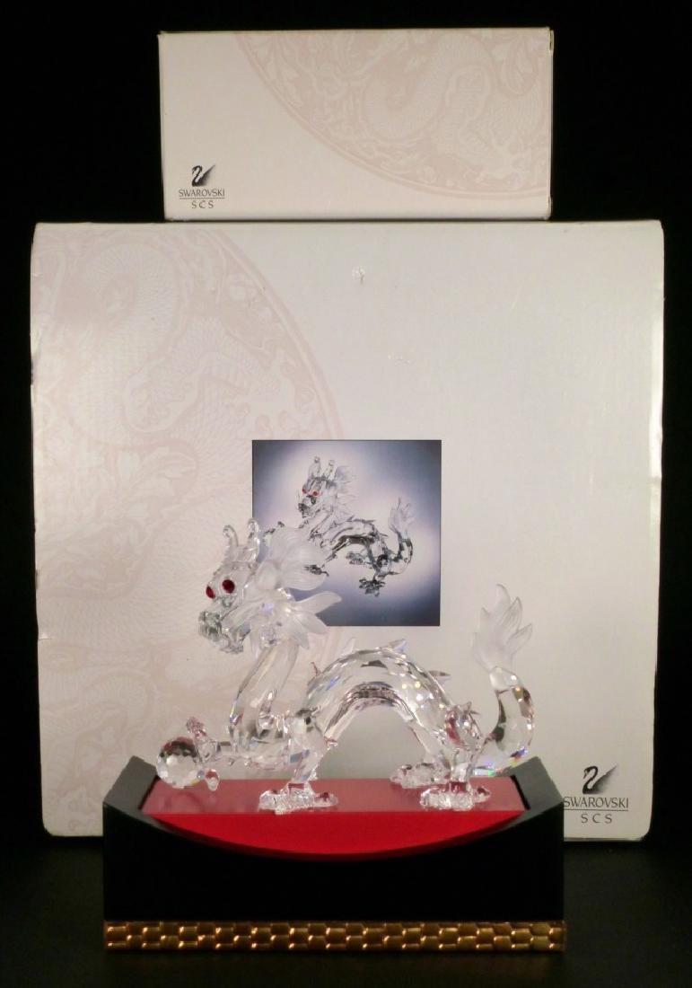 SWAROVSKI CRYSTAL DRAGON FIGURE w STAND & BOXES - 8