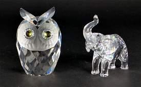 2pc SWAROVSKI CRYSTAL ELEPHANT & OWL w BOXES