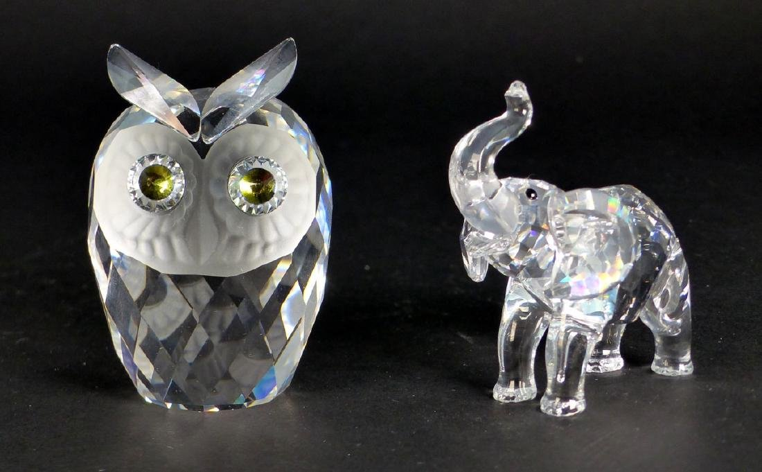 2pc SWAROVSKI CRYSTAL ELEPHANT & OWL w BOXES