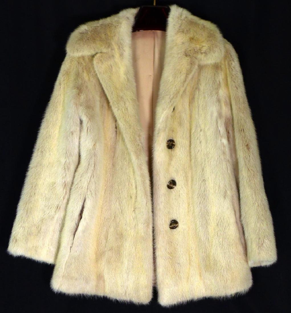 VINTAGE CREAM MINK FUR COAT HALF LENGTH