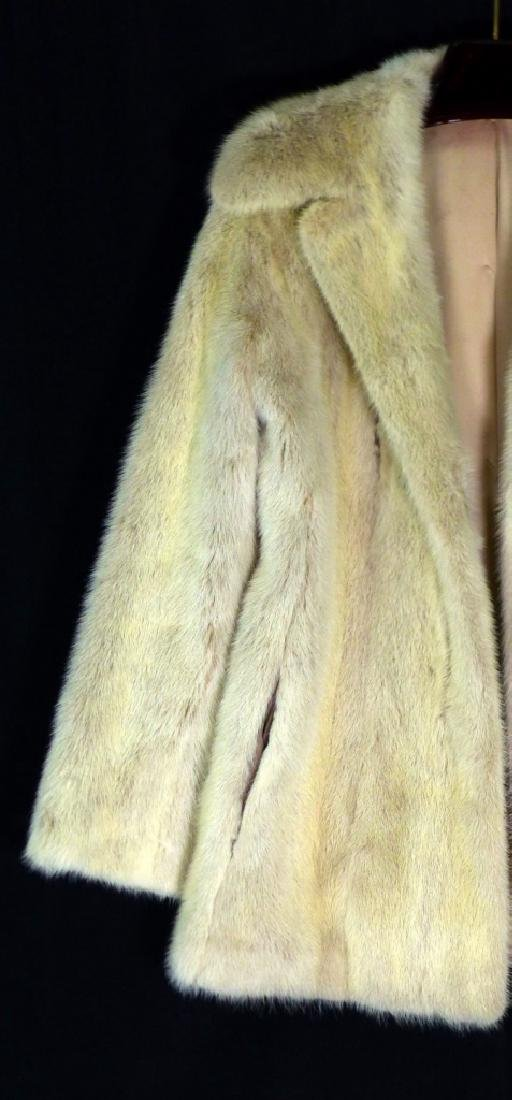 VINTAGE CREAM MINK FUR COAT HALF LENGTH - 3
