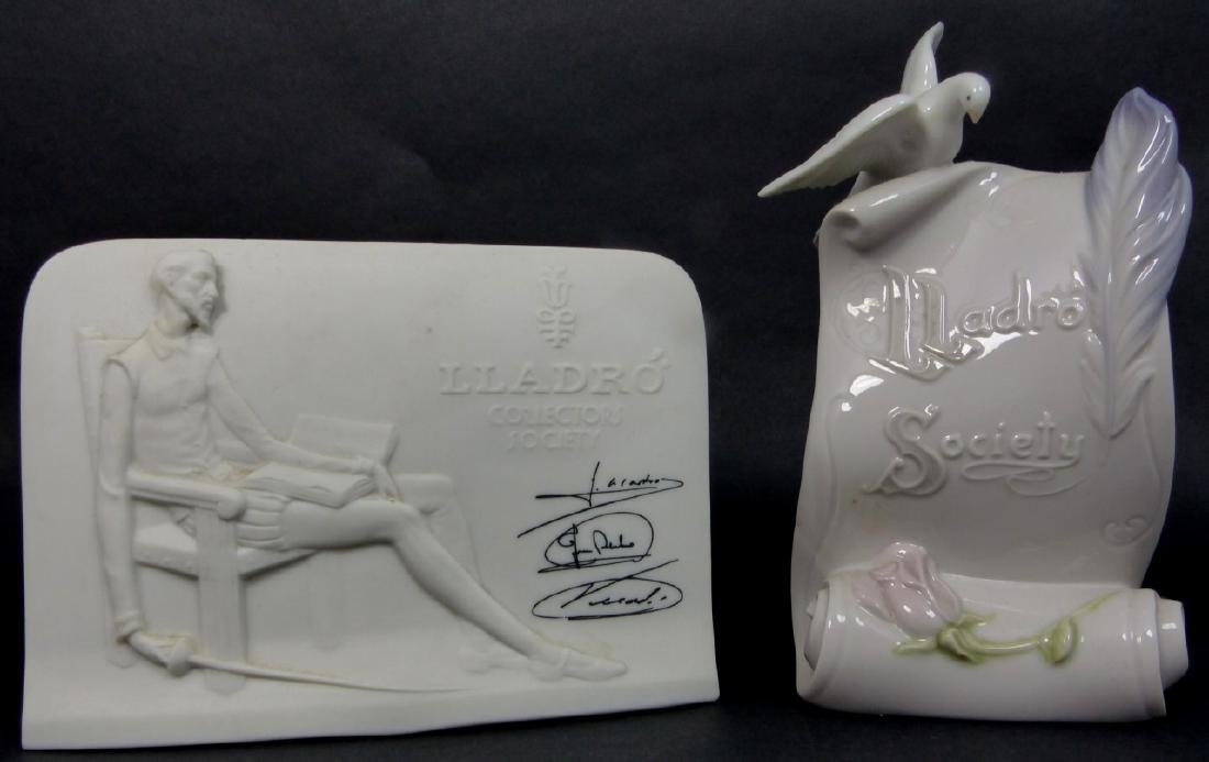 2pc LLADRO SOCIETY PORCELAIN PLAQUES