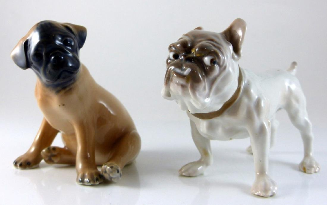 2pc COPENHAGEN PORCELAIN DOGS PUG & BULLDOG