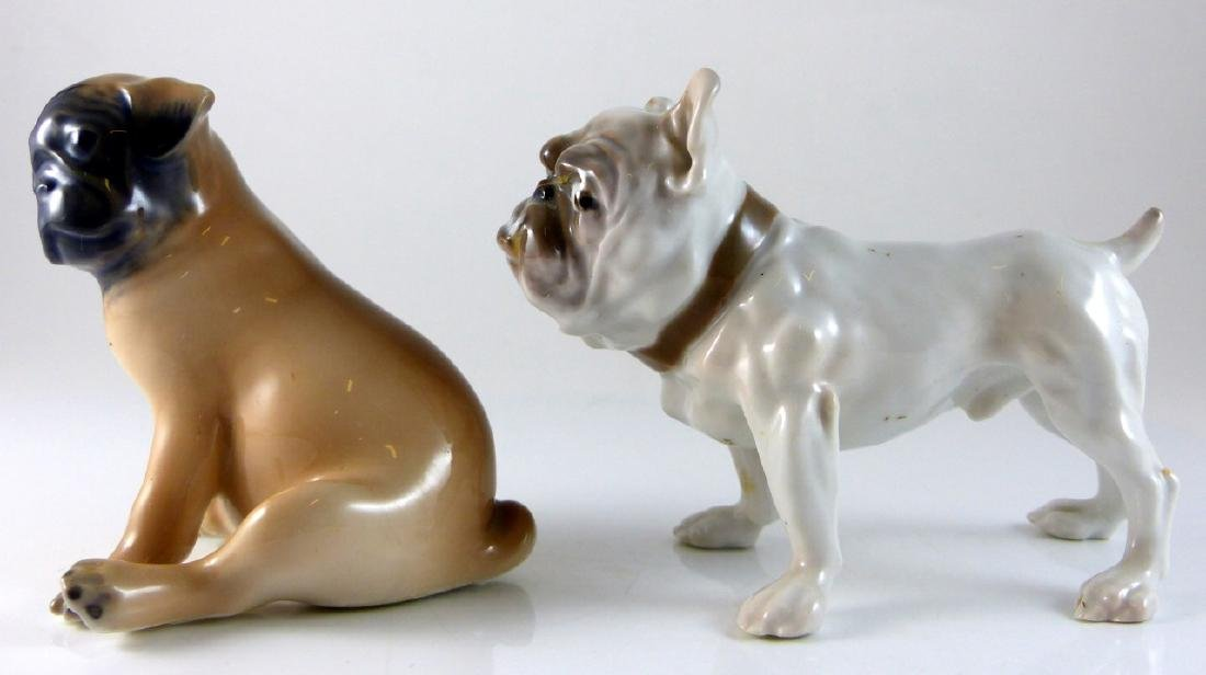 2pc COPENHAGEN PORCELAIN DOGS PUG & BULLDOG - 2