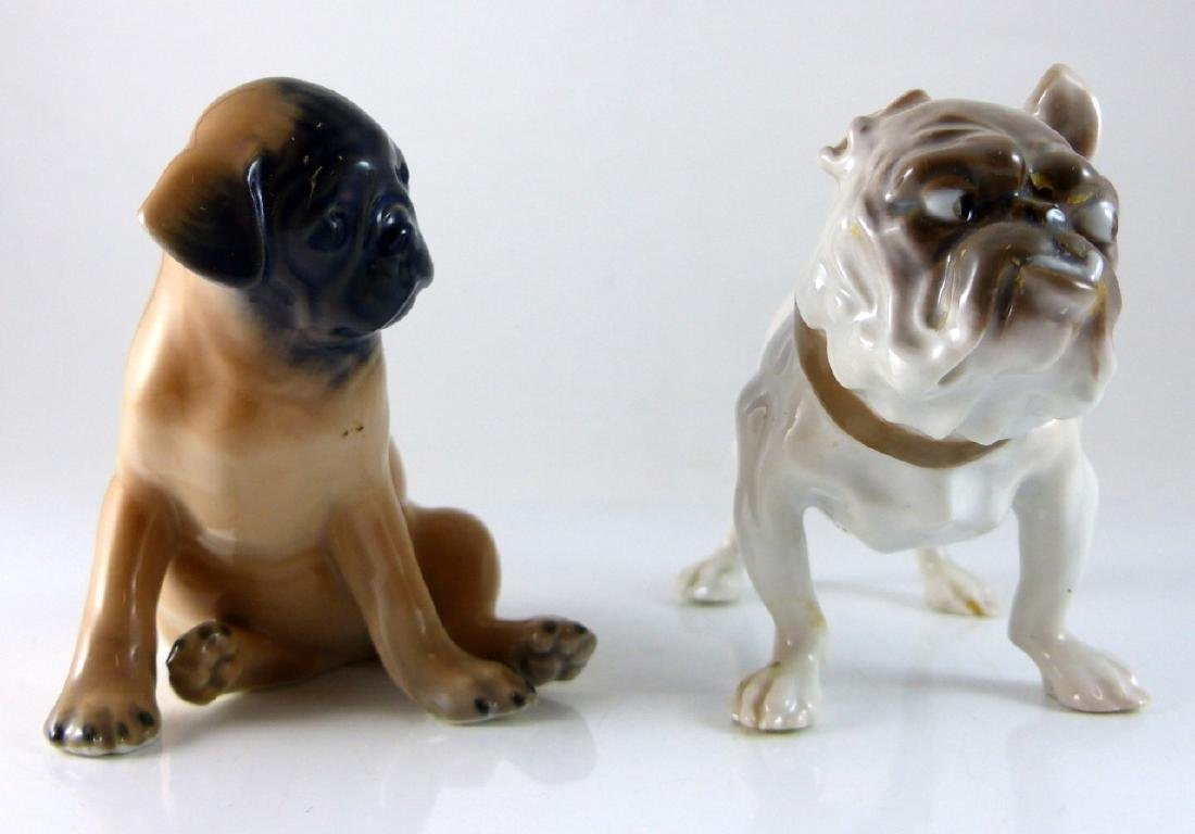 2pc COPENHAGEN PORCELAIN DOGS PUG & BULLDOG - 5