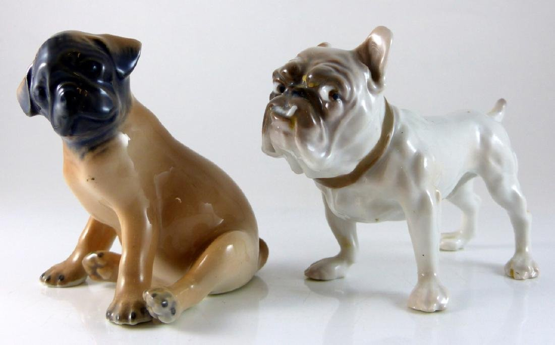 2pc COPENHAGEN PORCELAIN DOGS PUG & BULLDOG - 6