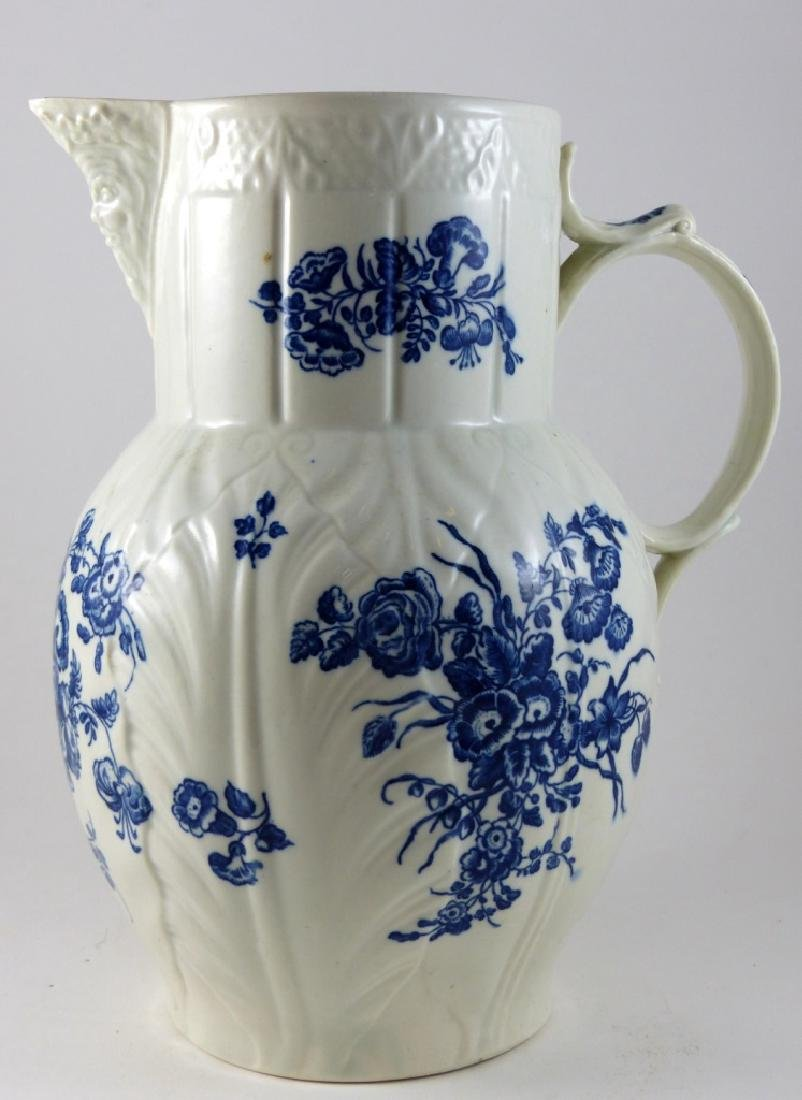 WORCESTER DR. WALL BLUE & WHITE PORCELAIN PITCHER - 8