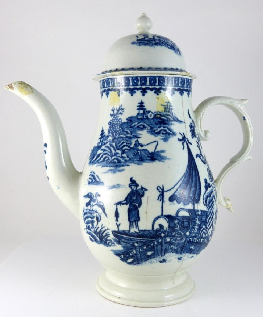 WORCESTER DR. WALL BLUE & WHITE PORCELAIN COFFEE