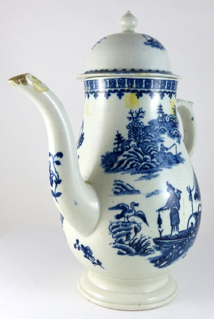 WORCESTER DR. WALL BLUE & WHITE PORCELAIN COFFEE - 2