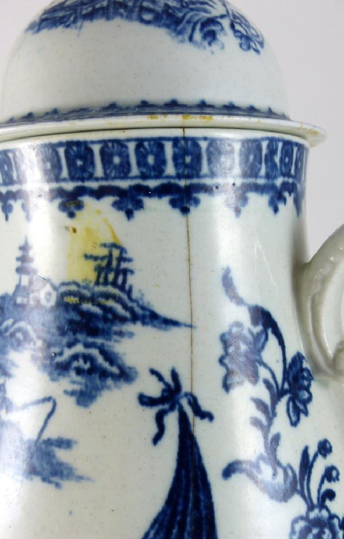 WORCESTER DR. WALL BLUE & WHITE PORCELAIN COFFEE - 4