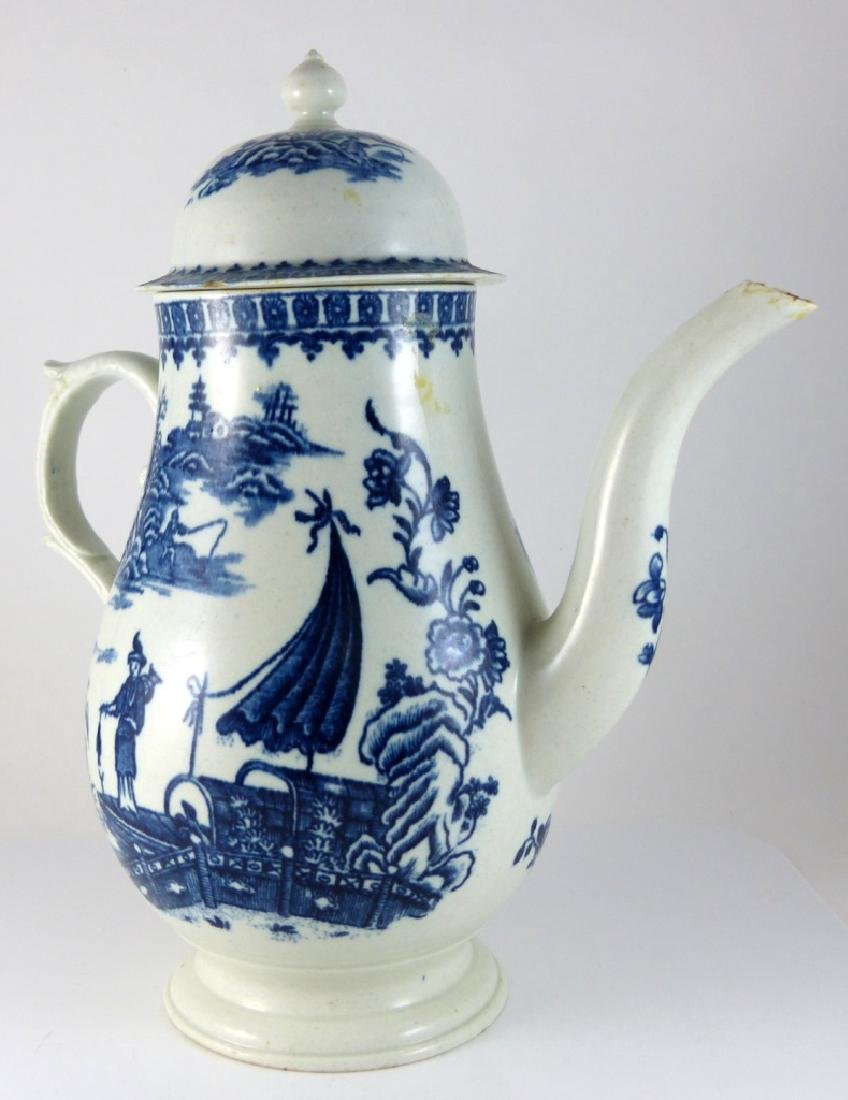 WORCESTER DR. WALL BLUE & WHITE PORCELAIN COFFEE - 6