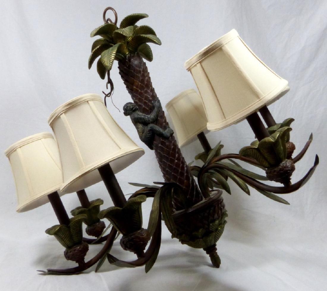 VINTAGE MONKEY & PALM TREE 6-LIGHT CHANDELIER