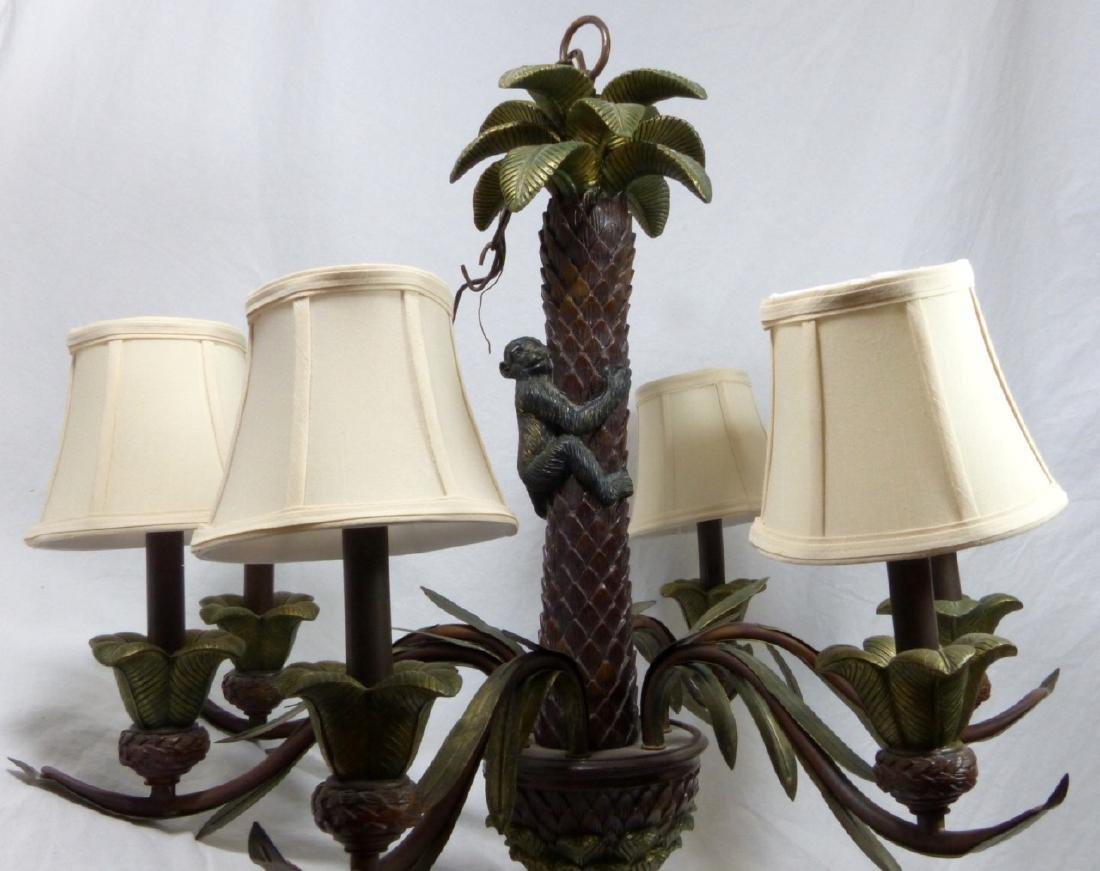 VINTAGE MONKEY & PALM TREE 6-LIGHT CHANDELIER - 2