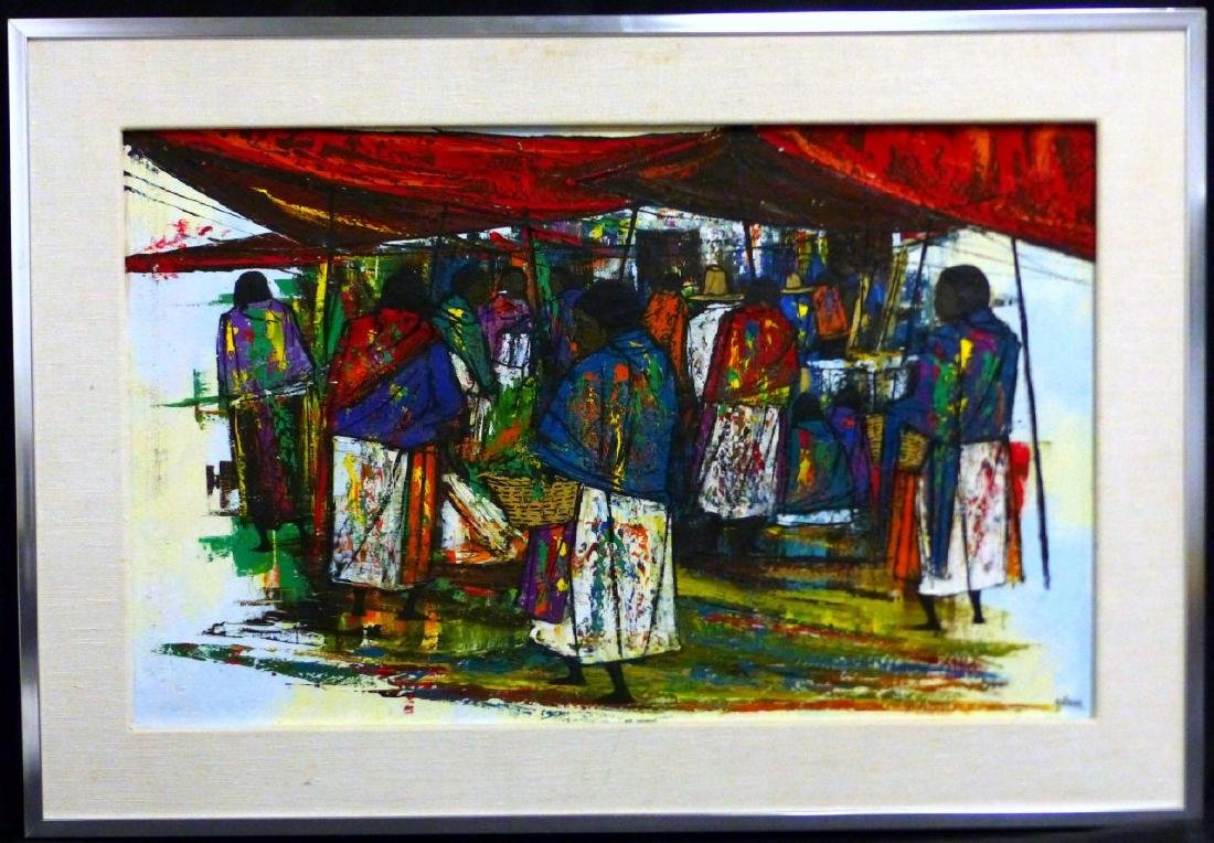 GOMEZ MEXICAN OIL PAINTING ON CANVAS MARKET SCENE