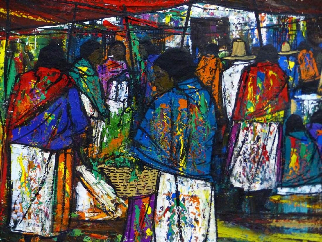 GOMEZ MEXICAN OIL PAINTING ON CANVAS MARKET SCENE - 4