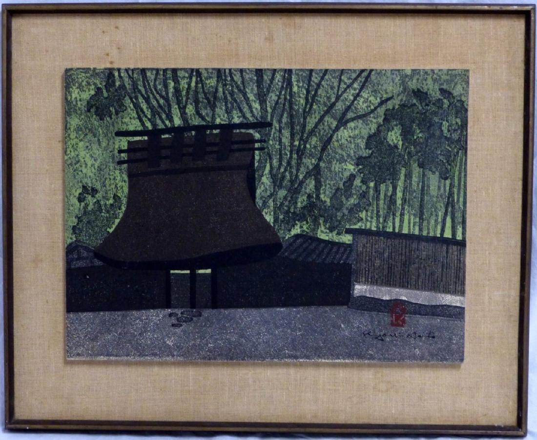 KIYOSHI SAITO JAPANESE WOODBLOCK 'GATE KYOTO' 1968