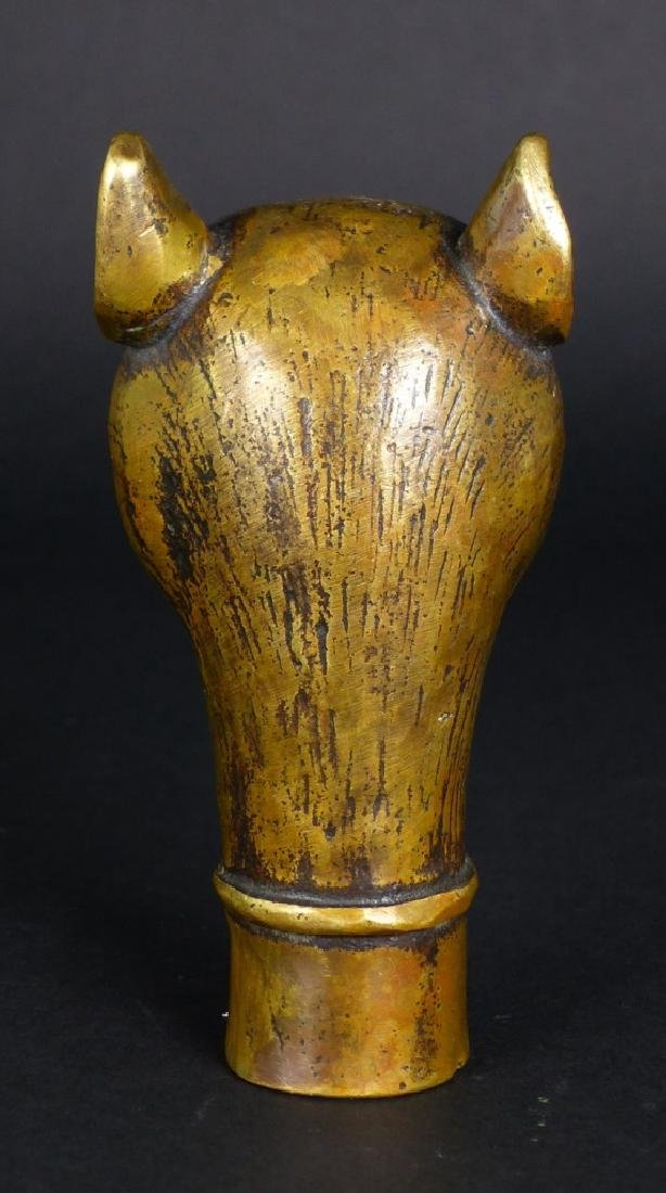 CHINESE BRASS MOUSE CANE HANDLE - 3