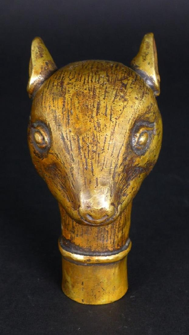 CHINESE BRASS MOUSE CANE HANDLE - 7