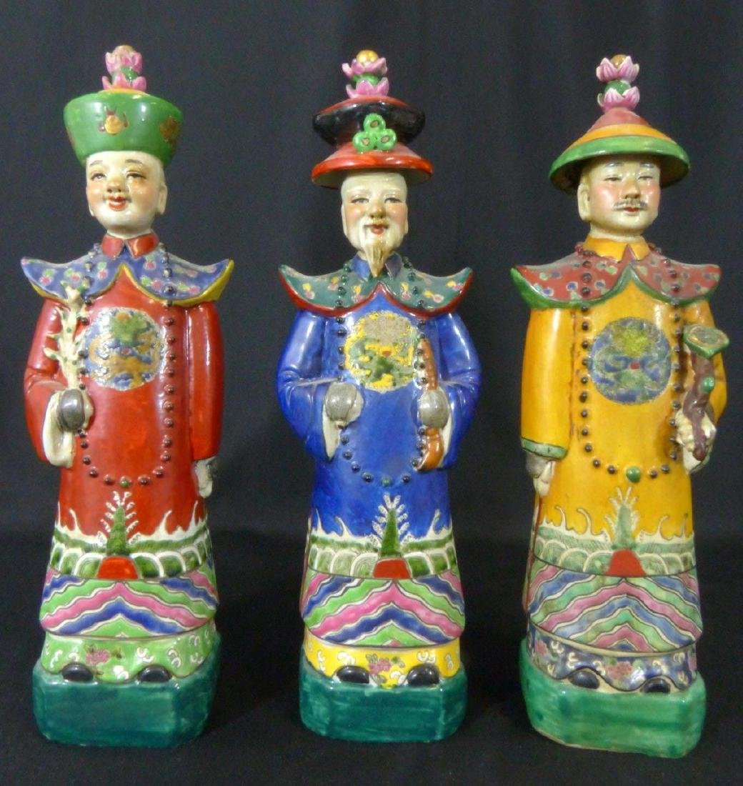 3pc CHINESE PORCELAIN WISEMAN FIGURINES