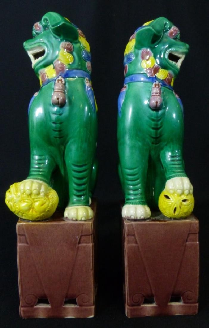PAIR CHINESE GLAZED PORCELAIN FOO DOGS - 4
