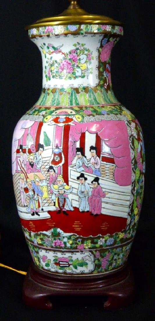 LARGE CHINESE FAMILLE ROSE LAMP - 2