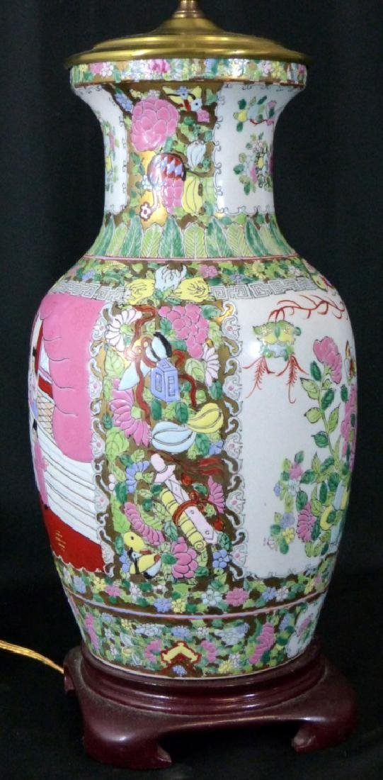 LARGE CHINESE FAMILLE ROSE LAMP - 3