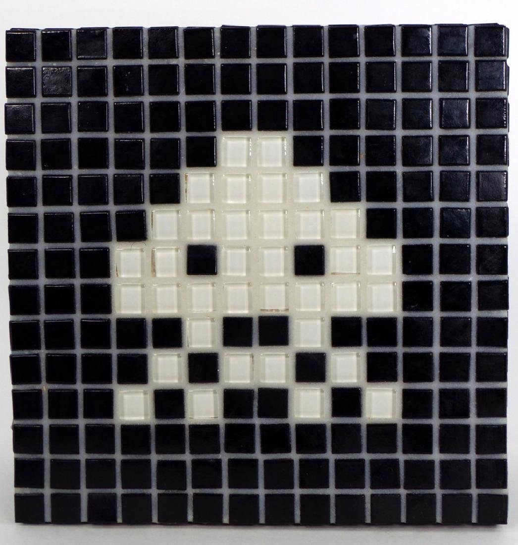 SPACE INVADER MOSAIC TILE PLAQUE SIGNED - 2