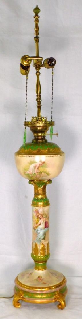ROYAL VIENNA HAND PAINTED PORCELAIN BANQUET LAMP - 10