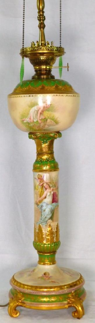 ROYAL VIENNA HAND PAINTED PORCELAIN BANQUET LAMP
