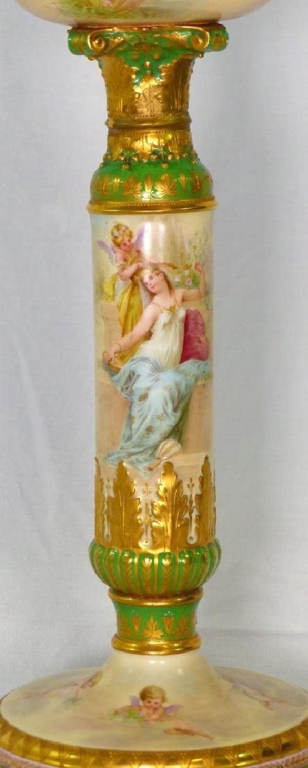 ROYAL VIENNA HAND PAINTED PORCELAIN BANQUET LAMP - 2