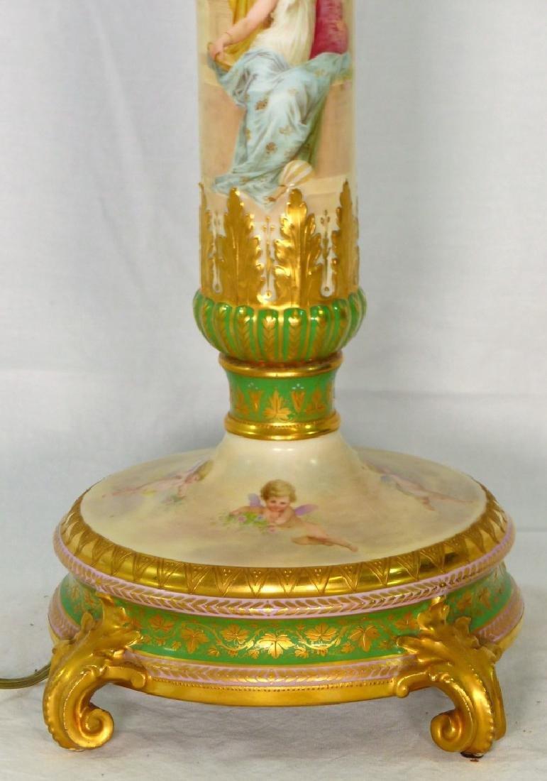 ROYAL VIENNA HAND PAINTED PORCELAIN BANQUET LAMP - 3