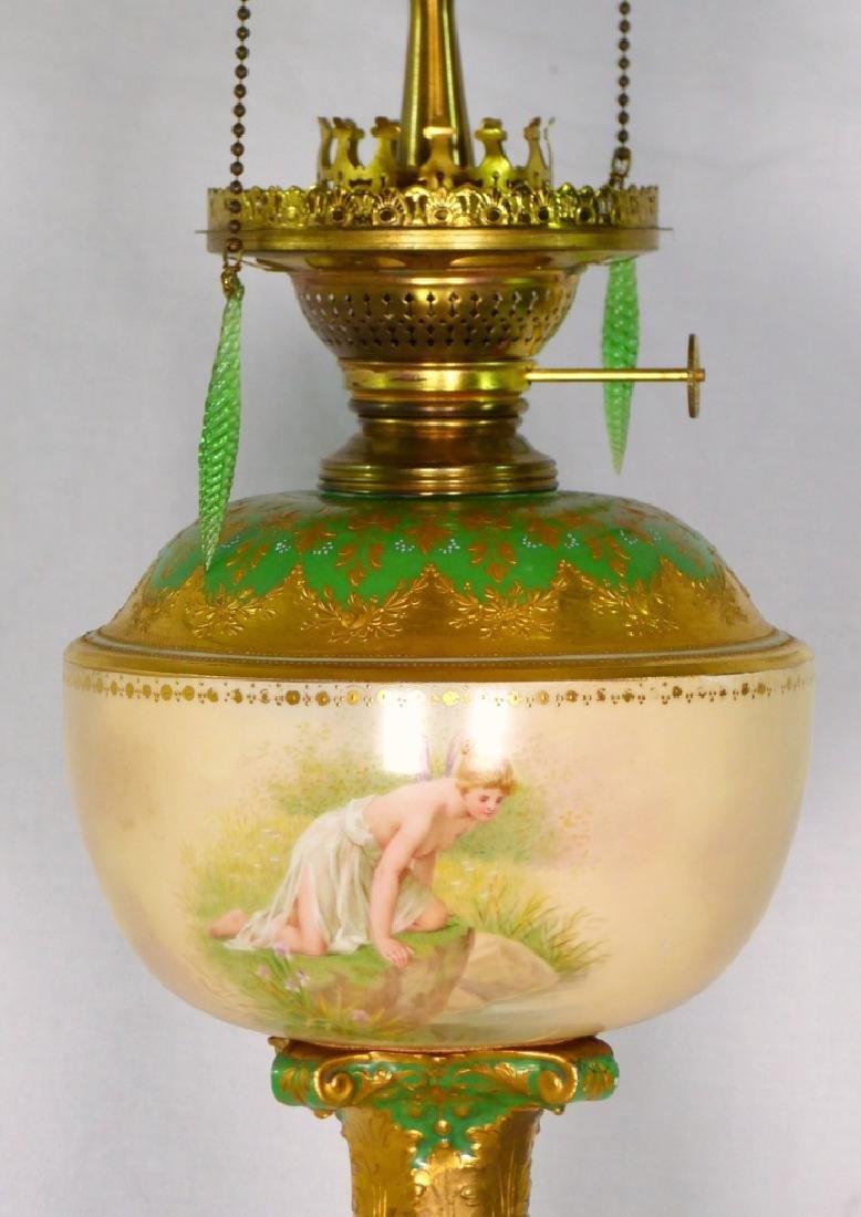 ROYAL VIENNA HAND PAINTED PORCELAIN BANQUET LAMP - 4
