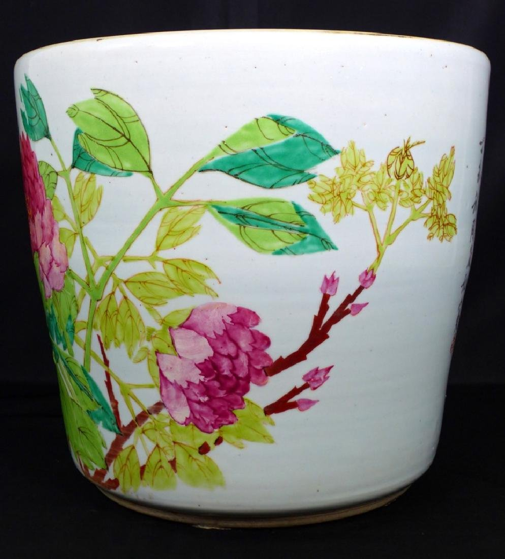 CHINESE PORCELAIN PLANTER w BIRDS & FLOWERS - 7