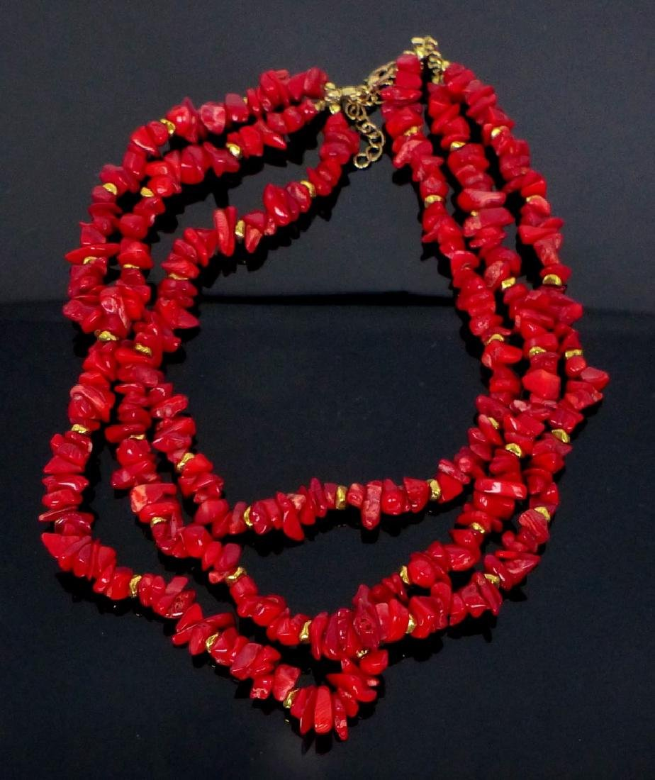 3-STRAND CORAL BEADED NECKLACE