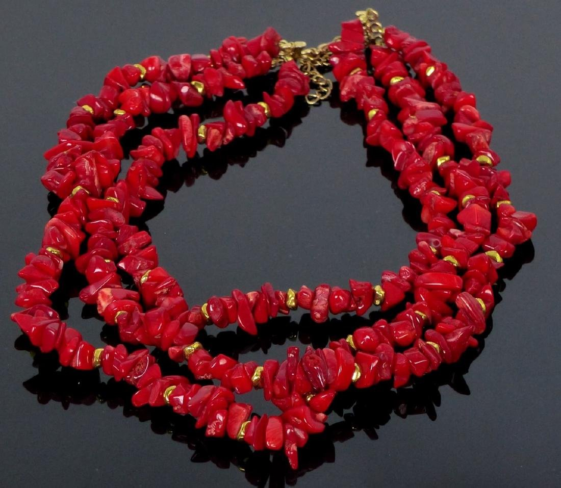3-STRAND CORAL BEADED NECKLACE - 2