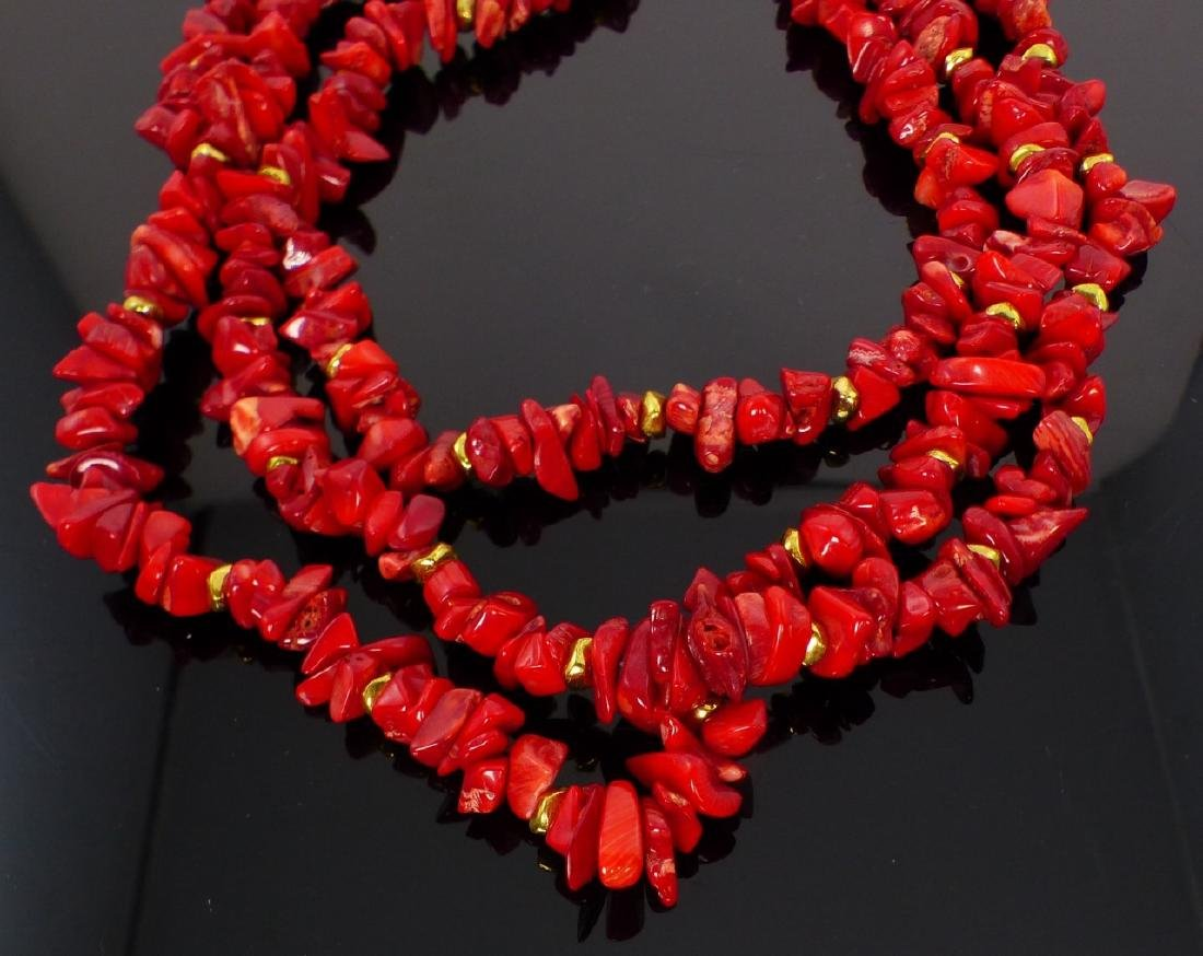 3-STRAND CORAL BEADED NECKLACE - 3
