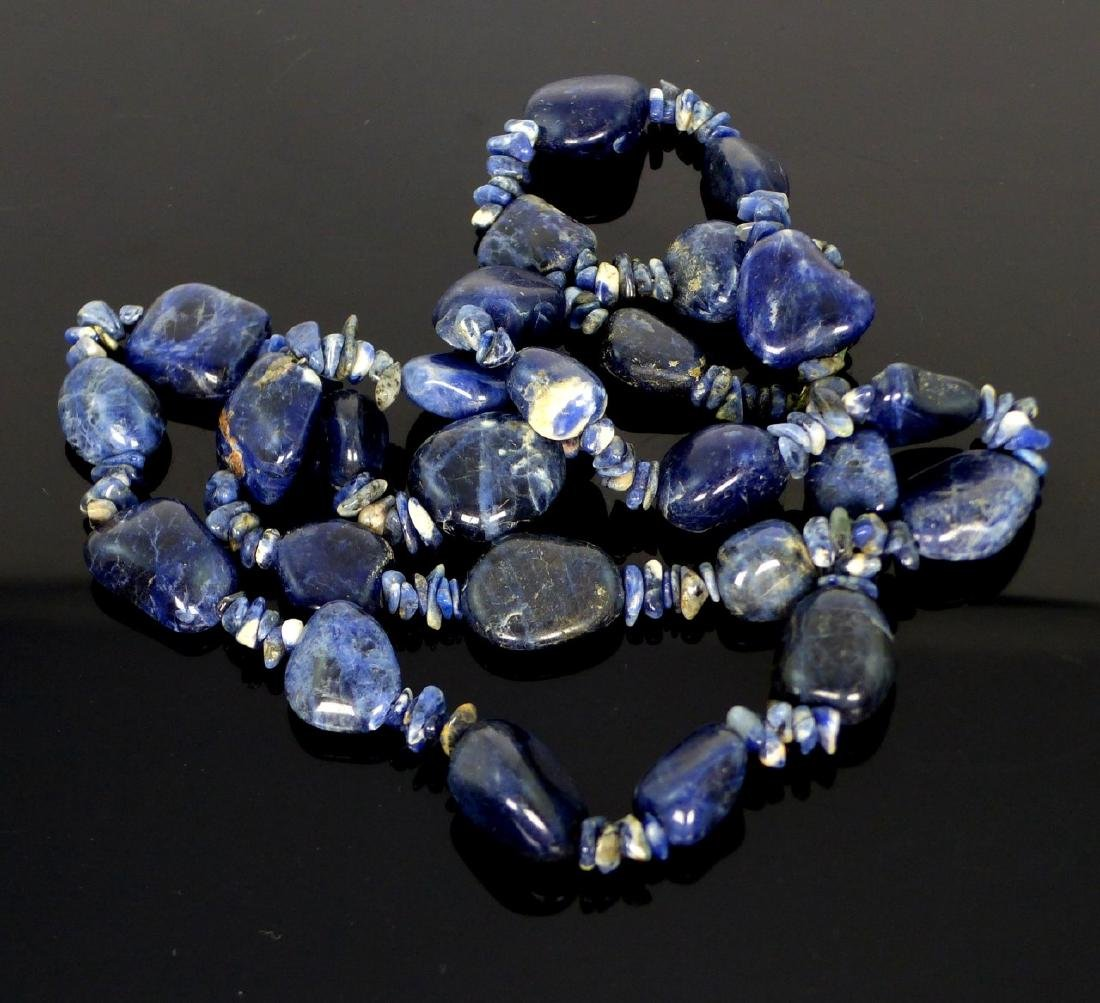 SODALITE BEADED NECKLACE 35""