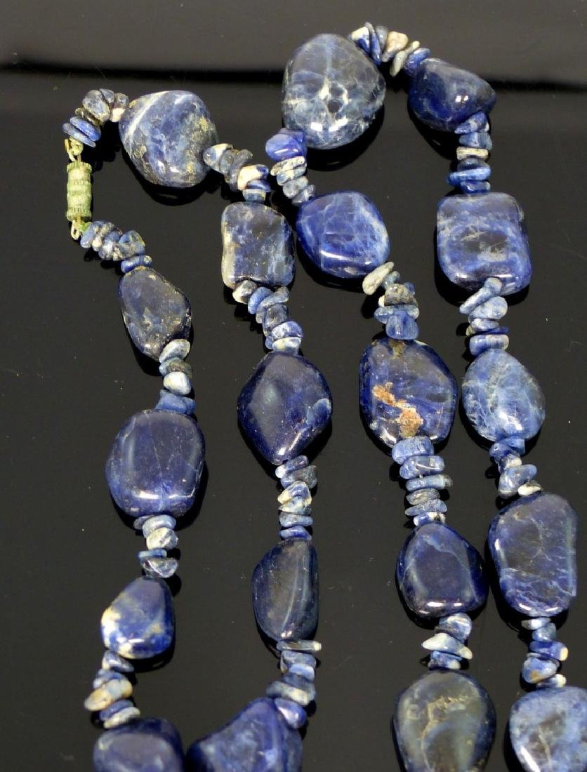 "SODALITE BEADED NECKLACE 35"" - 2"