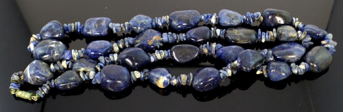"SODALITE BEADED NECKLACE 35"" - 4"