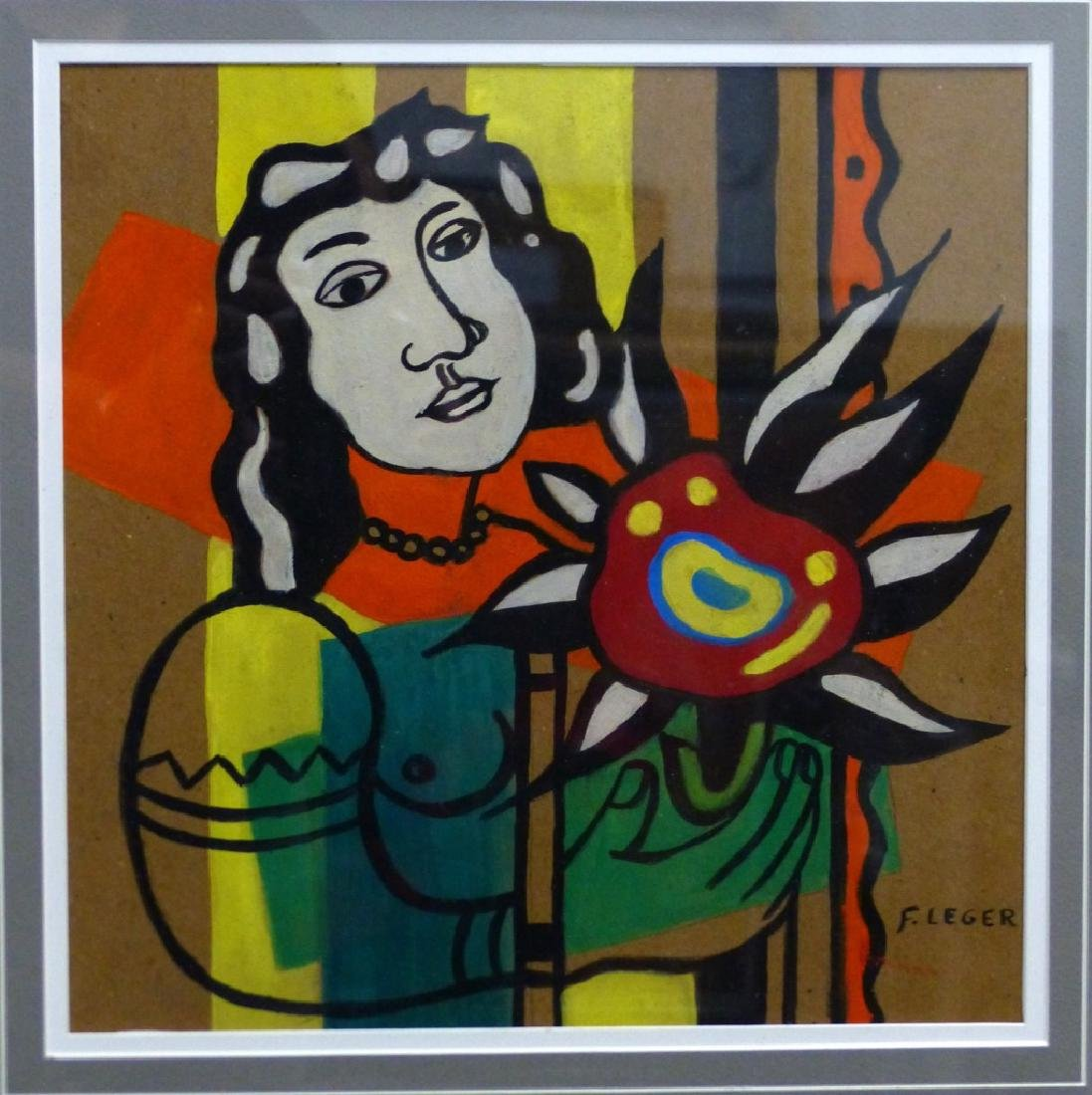 FERNAND LEGER GOUACHE 'NUDE WOMAN WITH FLOWER' - 2