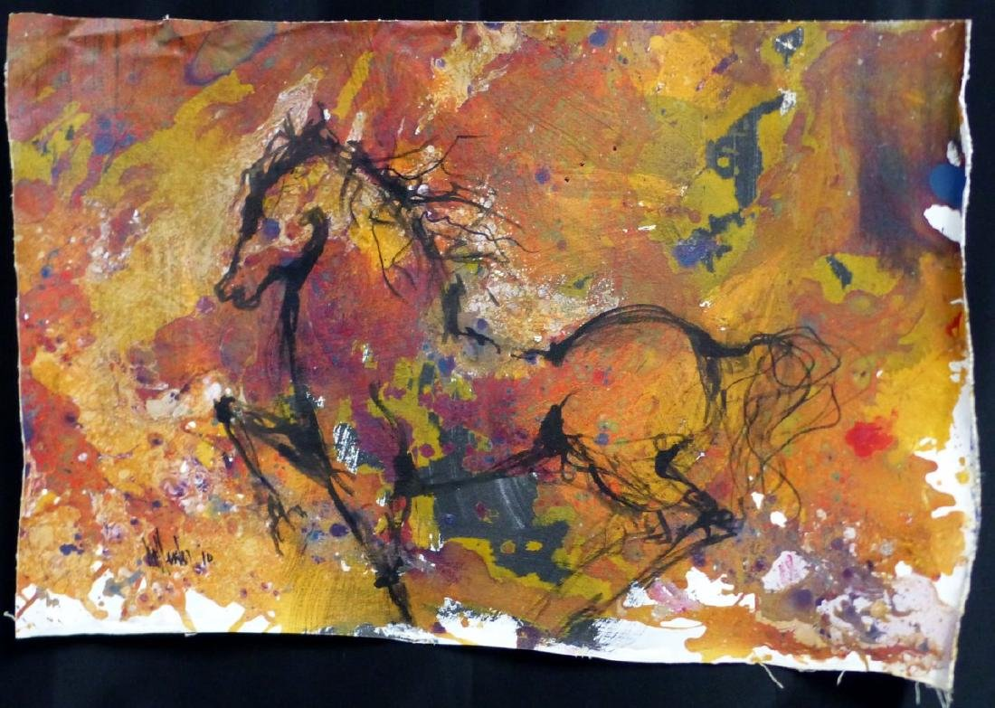 GINO HOLLANDER OIL PAINTING ON CANVAS HORSE