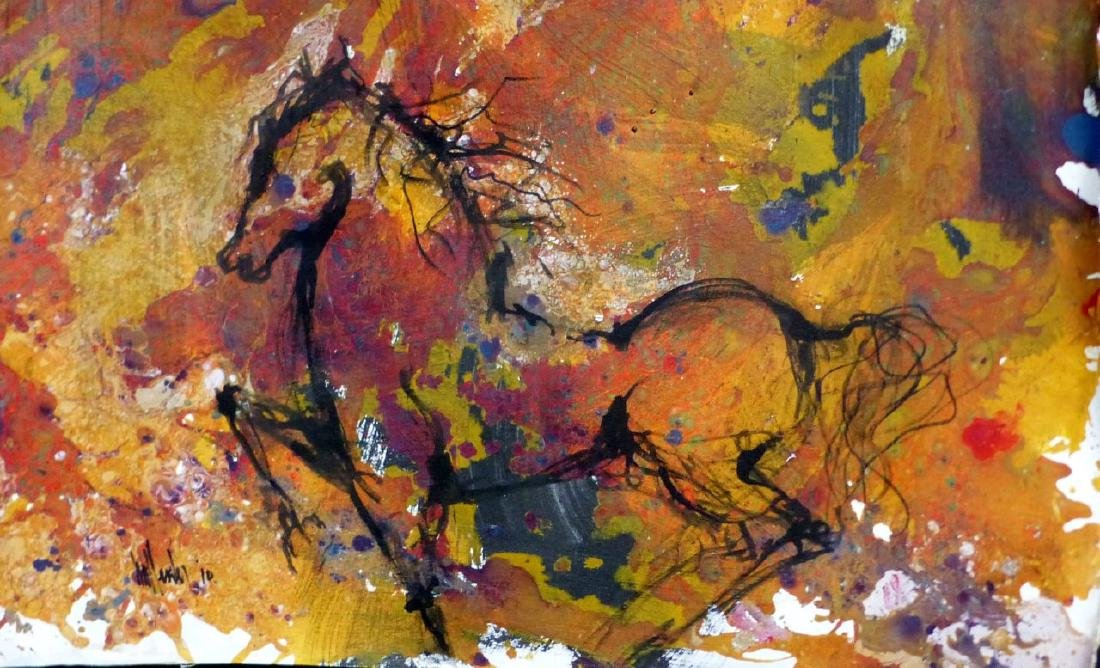 GINO HOLLANDER OIL PAINTING ON CANVAS HORSE - 2