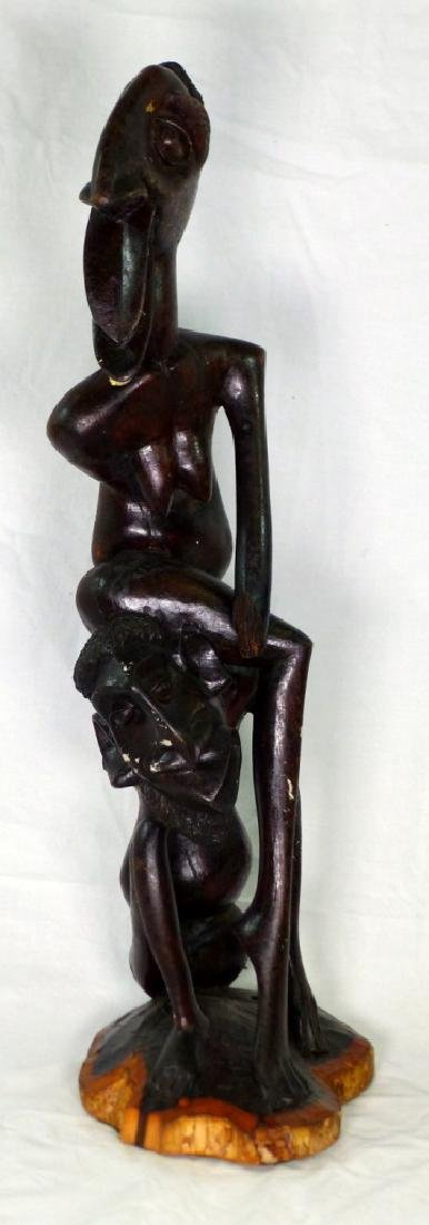 AFRICAN CARVED & EBONIZED FIGURAL SCULPTURE 26""