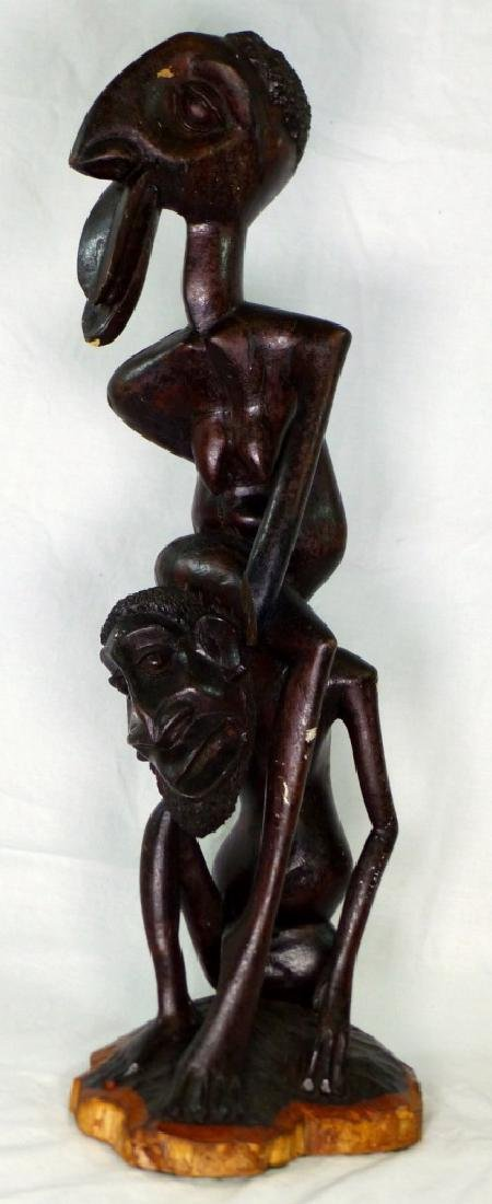 "AFRICAN CARVED & EBONIZED FIGURAL SCULPTURE 26"" - 2"