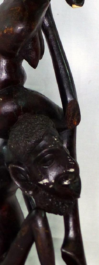 "AFRICAN CARVED & EBONIZED FIGURAL SCULPTURE 26"" - 4"