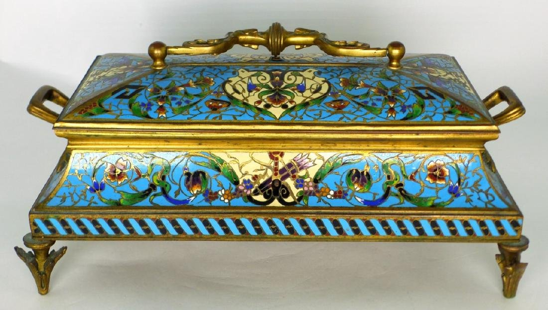 19th C FRENCH BRONZE & CHAMPLEVE DRESSER BOX