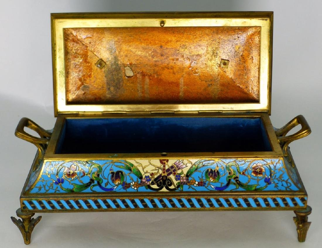 19th C FRENCH BRONZE & CHAMPLEVE DRESSER BOX - 2